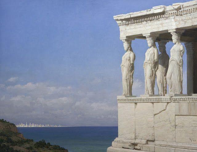 Άγαλμα της Ελευθερίας και Καρυάτιδες (2012) Λάδι σε καμβά