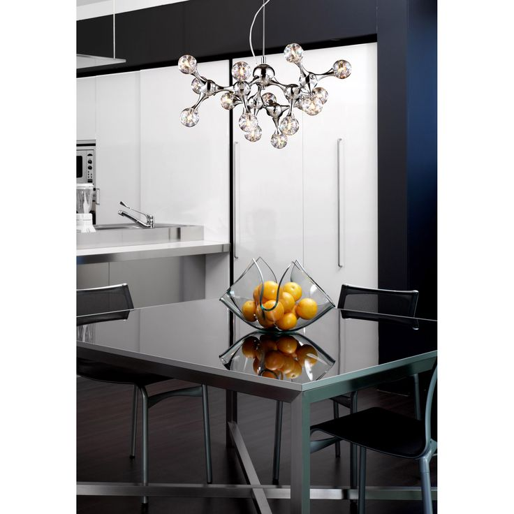Molecular 15 Light Chandelier In Chrome And Rainbow Glass Kitchen ModernModern Dining RoomsModern