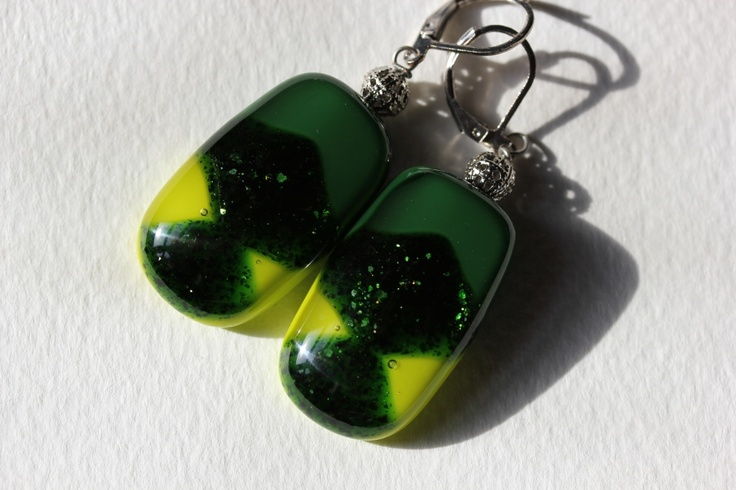 Green dichroic glass jewelry