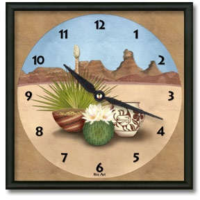 Desert Treasures Square Metal Wall Clock - From our Southwestern Clocks category, this clock is inspired by the rock formations and cacti found in the Southwestern desert. In the foreground are blooming cactus, Native American pottery and baskets.  $50.00