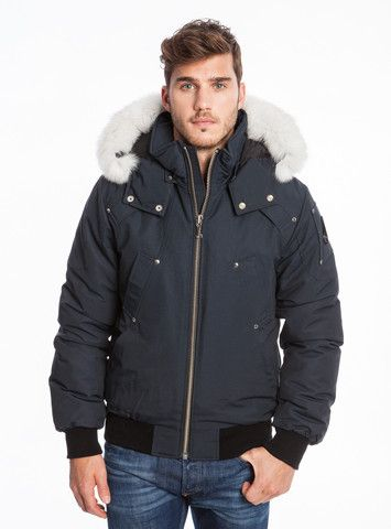 Moose Knuckles Men's Ballistic Bomber in Navy with White Fur