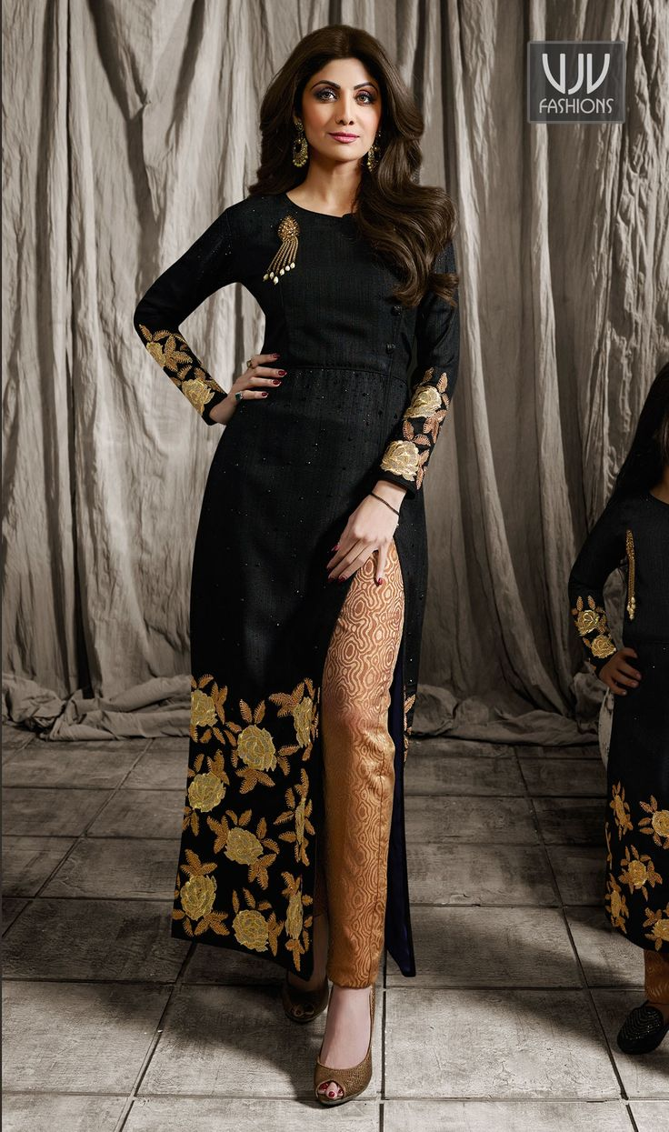 Shilpa Shetty Black Color Raw Silk Designer Salwar Suit Be your distinct style diva with this Shilpa Shetty black color raw silk designer salwar suit. The gorgeous embroidered and resham work through the attire is awe inspiring.