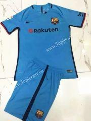 2017-18 Barcelona 2nd Away Blue  Soccer Uniform