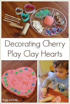 Sensory Play for Valentine's Day:  Decorating Cherry Play Clay Hearts (with scented homemade clay recipe!)~ Buggy and Buddy