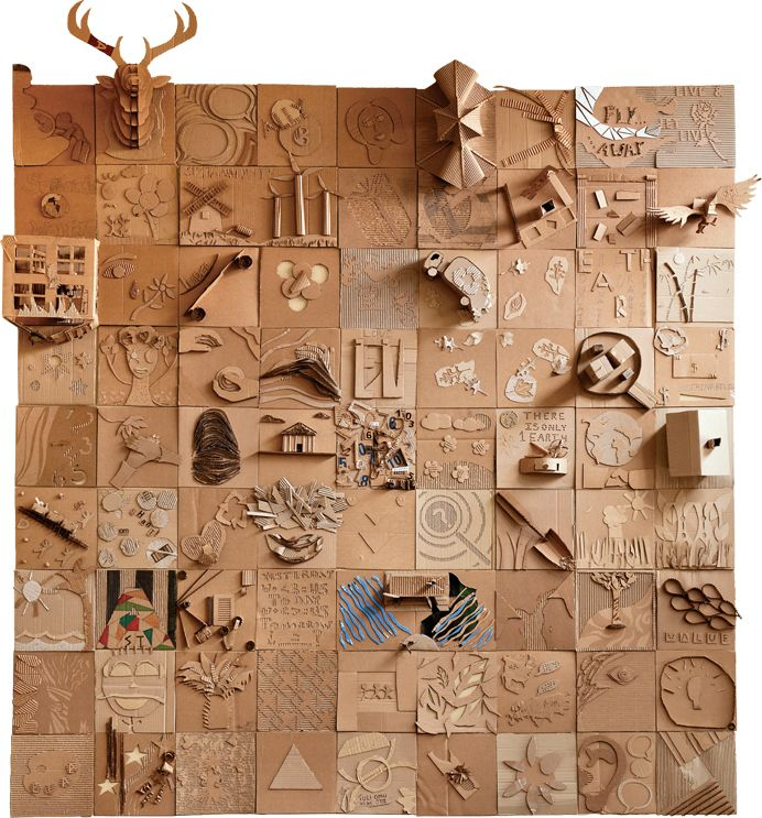 Turning Cardboard into Art- more than 50 students worked on this - from post consumer cardboard...
