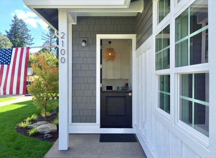 Modern Farmhouse With Side Entry Dutch Door, Sherwin Williams Onyx,  Benjamin Moore Amherst Gray Exterior Shake, Benjamin Moore Simply White  Exterior Board ...