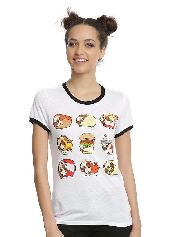 Puglie Junk Food Girls Ringer T-Shirt, WHITE