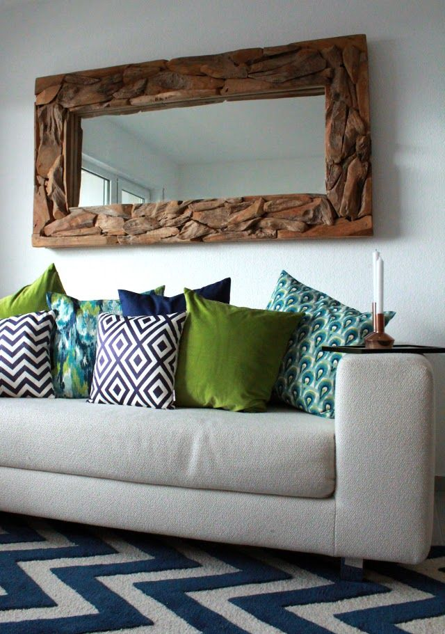 LIVING ROOM UPDATE | Wooden Mirror and Pillow Mix & Match | Print Pillows | Patterns | Green, Blue & Turquoise