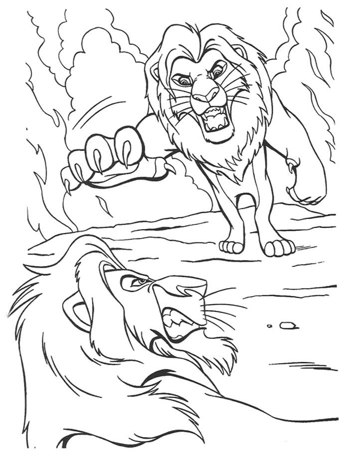 Simba Fighting Scar The Lion King Coloring Page Lion Coloring Pages Horse Coloring Pages Coloring Pages