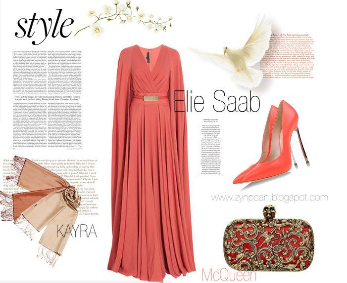 #eliesaab #dress #longdress #orange #kayra #scarf #clutch