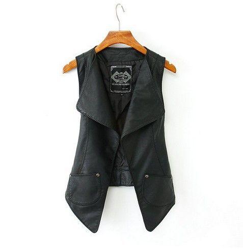 2014 Весна новая мода для женщин Slim Большой лацкан двойные карманы PU кожаный жилет женского непринужденной стильной Верхняя одежда 549 980,08