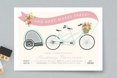 Bicycle Built for Three Baby Shower Invitations by Itsy Belle Studio at minted.com two