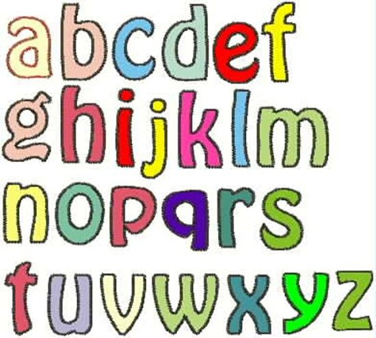 Raw-edge applique letters in upper case and lower case letters.