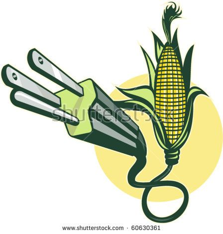 vector illustration of an Electric power plug coming out of corn  #corn #retro #illustration