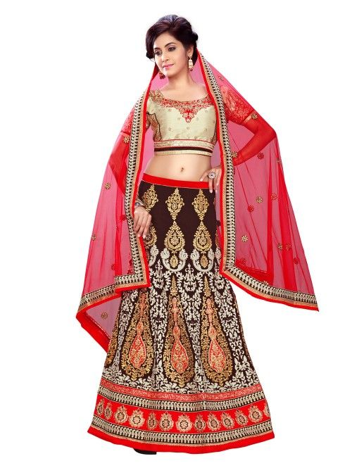 Brown Georgette Lehenga Choli with Embroidery Work
