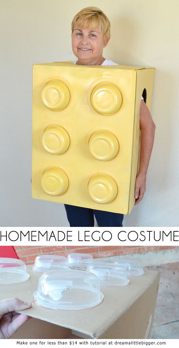 This homemade LEGO costume is so simple and inexpensive to make. Great for kids and adults alike! #DGHalloweenhack #ad