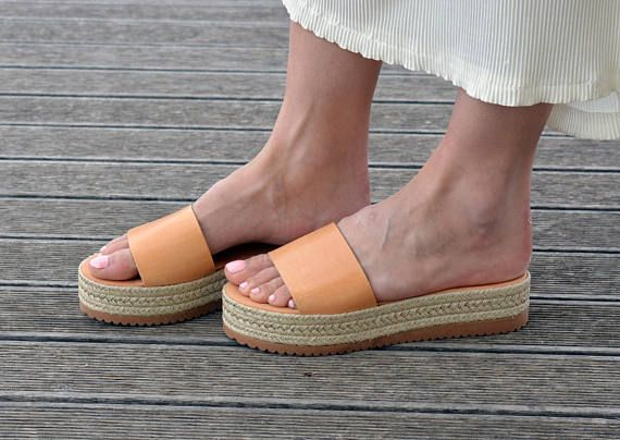 Greek Leather Slides Sandals | Espadrille Platform Sandals | Open Toe Flat Sandals | Leather Slide Sandals ''Emily''