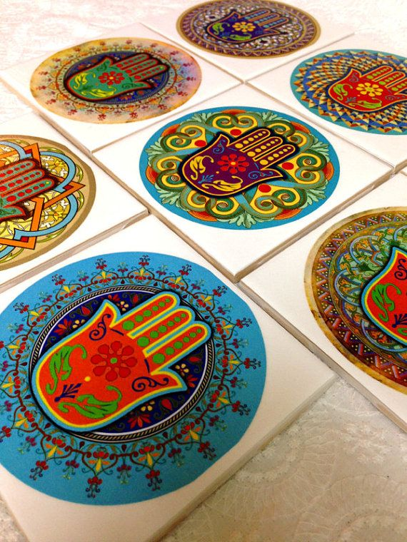 Hamsa Hand Coasters In All Colors Unique Handmade Gift by Ajobebe Personalized coasters set of 8