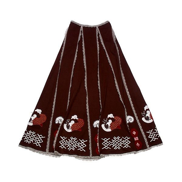 Razu Mikhina Трикотажная юбка с аппликациями (Рыбки) ❤ liked on Polyvore featuring skirts, women and brown skirt