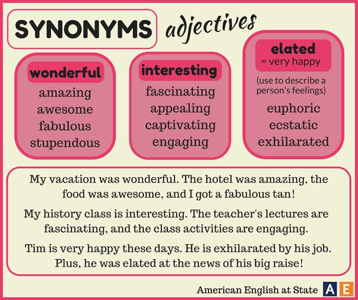 synonyms for adjectives wonderful interesting