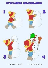 Staviame snehuliaka - pracovný list z ABC materská škola