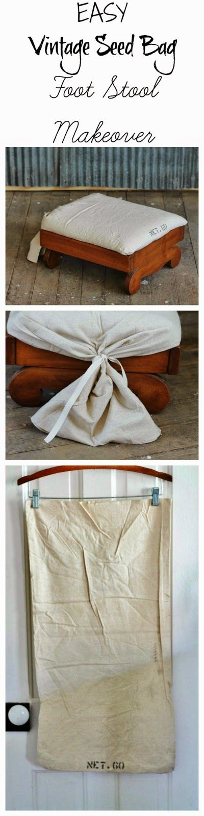 DIY Seed Bag Footstool Makeover - so quick and easy! ~~ via http://knickoftimeinteriors.blogspot.com/