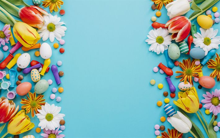 Download wallpapers Easter, spring, easter eggs, spring flowers, blue background, decoration