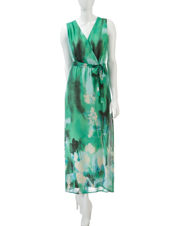 Madison Leigh Green Chiffon Maxi Dress – Misses | Stage Stores