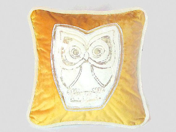 Fur owl couch pillow cover 20x20  Gold velvet piping by SABDECO