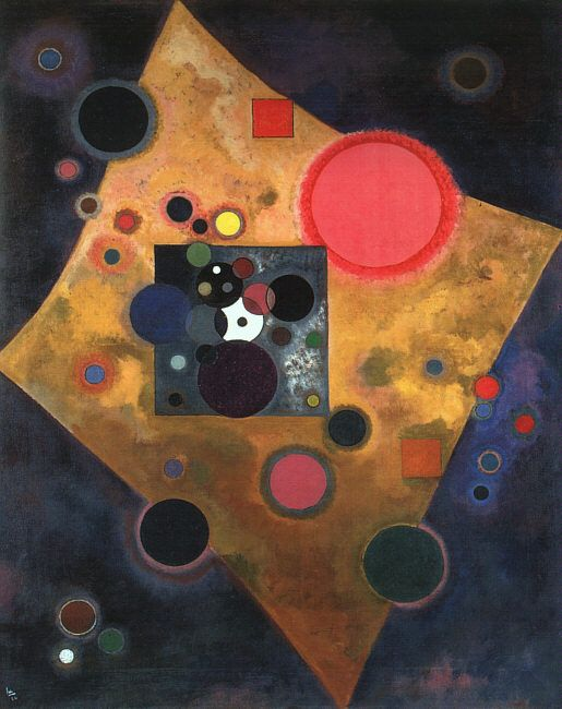 """""""Accent on Rose"""" (1926), by Wassily Kandinsky. Oil on canvas, Musée National d'Art Moderne, Paris."""