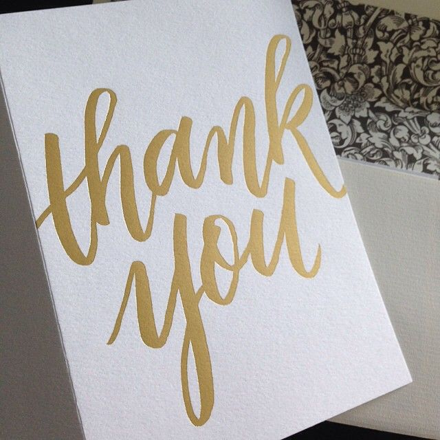 Matte gold foil stamping thank you cards freehand