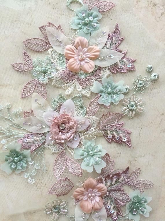 Exquisite Heavily Beaded 3D Lace Applique Pastel Color 4ced6c69db2a