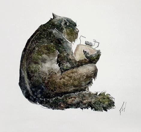 Бегемот не шалит, никого не трогает. Починяет примус. © Иван Марков
