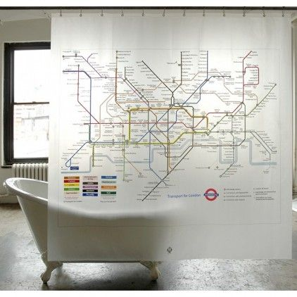 LONDON UNDERGROUND SHOWER CURTAIN by the green giving co ltd at Bouf.com