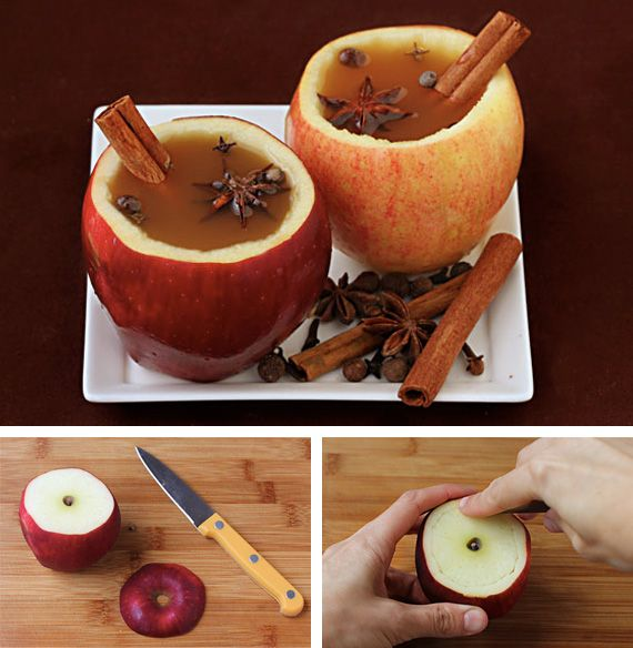 Apple cider CUPS! Too cute! Perfect for a Christmas or Halloween party.