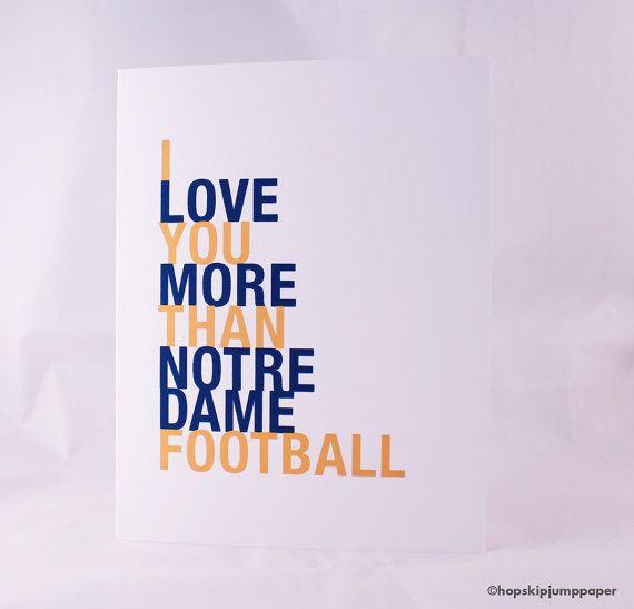 SALE Notre Dame Football Card I Love You More by HopSkipJumpPaper, $4.00