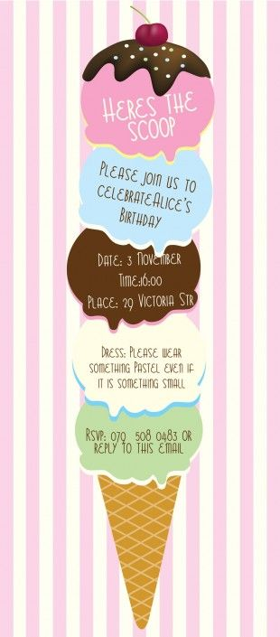 Ice cream birthday party invitation design by Very Cherry Design Studio