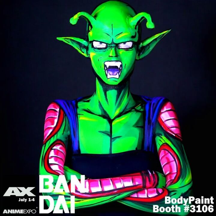 Excited to see you this weekend! Come by the Bandai America booth South Hall #3106 for An Exclusive Merged Zamasu Autographed Print!  @animeexpo #animeexpo #bandai #bodypaint #cospaint #bodyart #comicbookmakeup #twitchcreative #twitch #cosplay #animeexpo2017