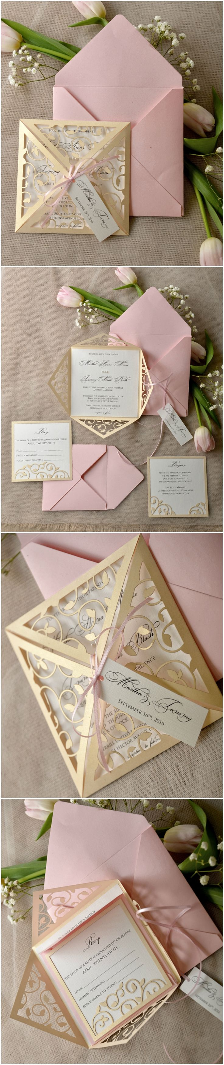 Laser cut blush pink romantic Wedding Invitations