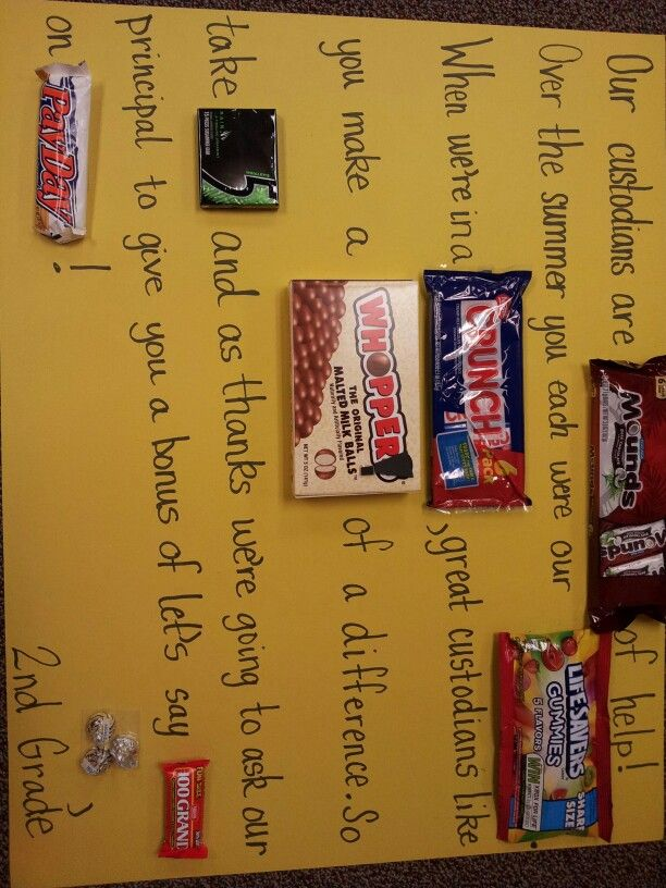 Candy poster for custodian appreciation week! | school ...