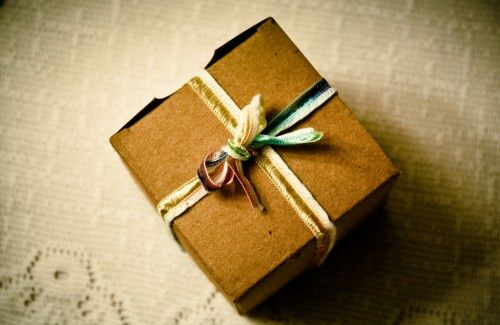 cardboard box with ribbon