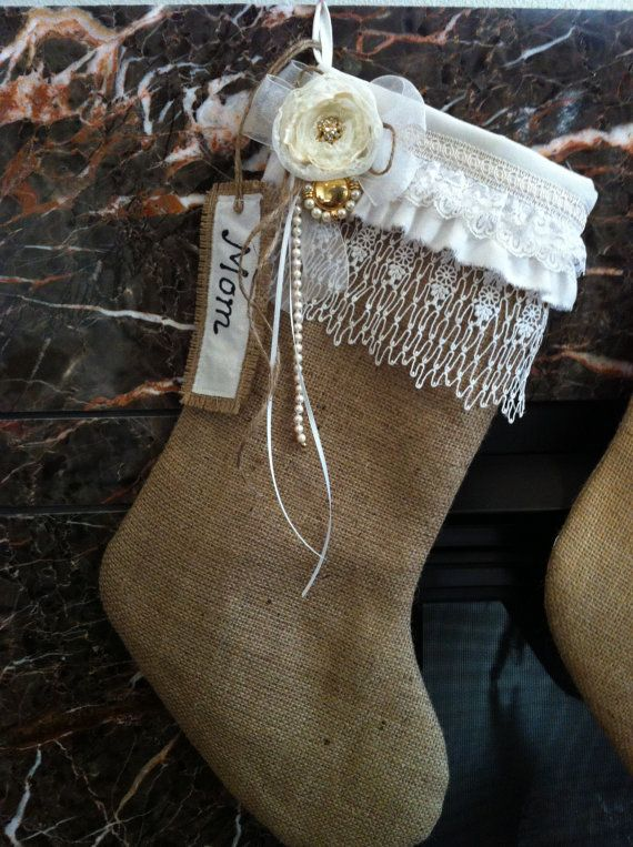 Burlap & Lace Christmas Stocking Cream White by lifesjoyousmoments, $38.00: