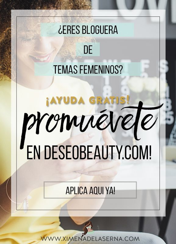 Eres bloguera de temas femeninos? (Salud, acné, cabello fino, pérdida de cabello, alopecia, SOP (síndrome de ovario poliquistico) ciclos, hormonas, fitness, alimentación, terapias naturales para estos temas...) Colabora como bloguera invitada en DeseoBeauty.com - uno de los blogs para mujeres mejor establecidos en español - y promociona tu propio conocimiento, blog y negocio GRATIS! Aplica ya en: http://ximenadelaserna.com/colaboradoras-invitadas/