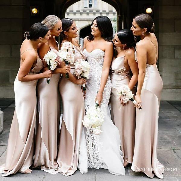 Spaghetti Straps Champagne Mermaid Bridesmaid Dresses With Criss