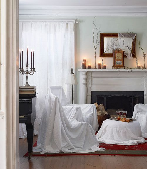 Great idea for hosting a Halloween party ... easy clean-up, too! :-)Halloween Decorations, White Sheet, Living Rooms, Decor Ideas, Halloween Parties Decor, Haunted House, Halloweendecor, Abandoned House, Halloween Ideas