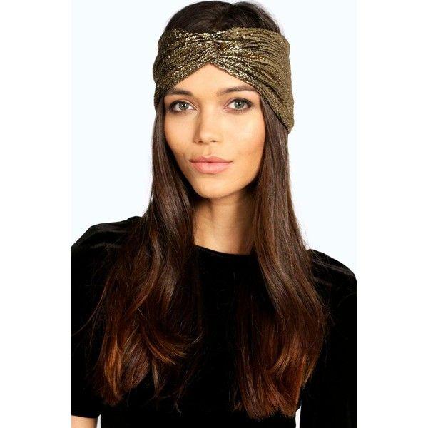 Boohoo Sophia Metallic Turban Headband ($8) ❤ liked on Polyvore featuring accessories, hair accessories, gold, hippie headbands, head wrap headband, headband hair accessories, knotted headwrap and chain headwrap
