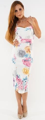 **Ivory Pink All Over Floral Camisole Pencil Style Sleeveless Bodycon Dress**
