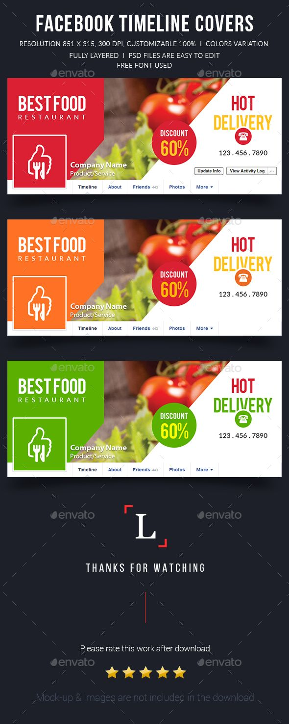 Best Food Facebook Timeline Covers Template PSD #design Download: http://graphicriver.net/item/best-food-facebook-timeline-covers/13309472?ref=ksioks