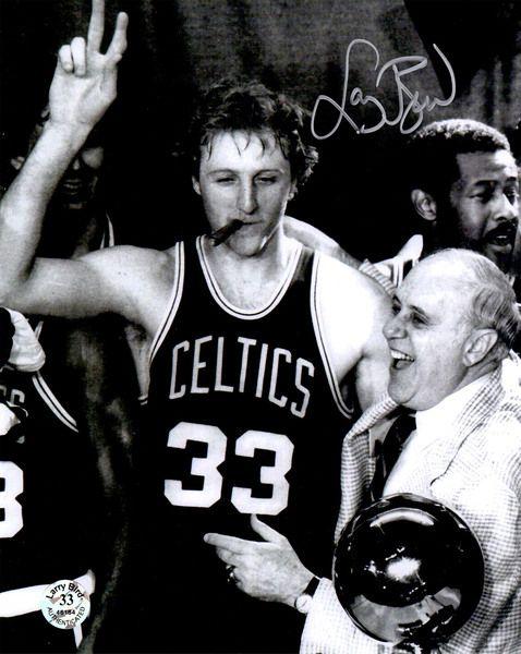 Larry Bird Signed Celtics Cigar Celebration With Red Auerbach B&W 8x10 Photo
