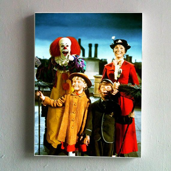 Canvas of  IT's Pennywise in Mary Poppins by KingOfMashUps on Etsy